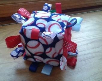 Baseball Print Baby Taggie Toy