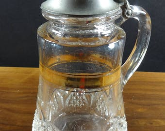 Antique George Duncan 1897 EAPG Syrup Jug-Pewter Top, Button Arches,Scalloped Diamond