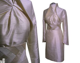 Outfit dress Bolero jacket Obi belt colored champagne sand or colorchoice