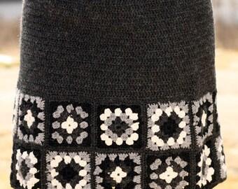 Skirt crochet, square pattern, women's clothing, outfit autumn winter, handmade.