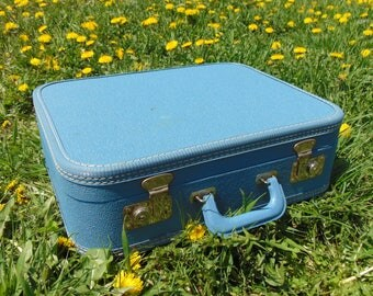 Blue Suitcase, Suitcase, Vintage Suitcase, Old Suitcase, Suitcase Card Box, Small Suitcase, Luggage, Kids Suitcase, Carry On Luggage