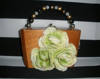 Green Silk Flower Cgar Box Purse, Authentic, Tampa