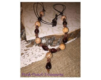 Red Tiger's Eye ans Magnesite Necklace