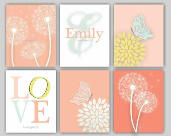 Butterfly Nursery, Dandelion Nursery, Baby Girl Nursery Art,  Love Print, Girl Monogram, Coral and Mint Nursery Art, Choose Colors DA4103