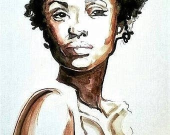 African American Woman Natural Hair Art Print Afro Female Portrait Watercolor Illustration Limited Edition Poster Print