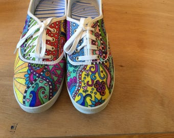 Women's size 7 hand decorated plimsoll sneaker