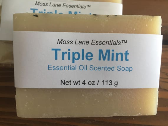 Triple Mint Essential Oil Scented Cold Process Soap with Shea Butter