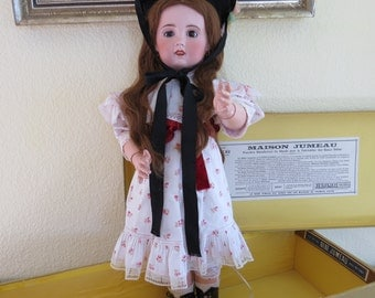 Antique Jumeau Doll French Doll Made in France, early 1900's or before, with Original Jumeau Presentation Box Bisque Porcelain Head Clothing