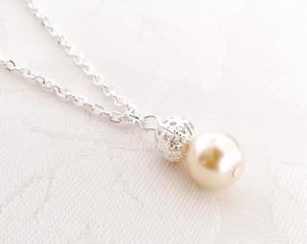 Pearl Necklace, Cream Pearl Necklace, Cream Pearl Jewelry, Bridesmaid Necklace, Wedding