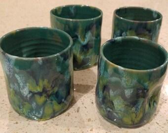 Celia Cole Pottery 4 Juice Cups Pinched Drip Glaze Tumblers 1989 NC Folk Art Pottery