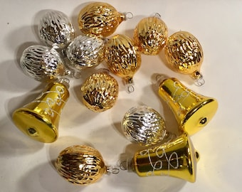Vintage blown glass ornament  West Germany silver gold bells nuts