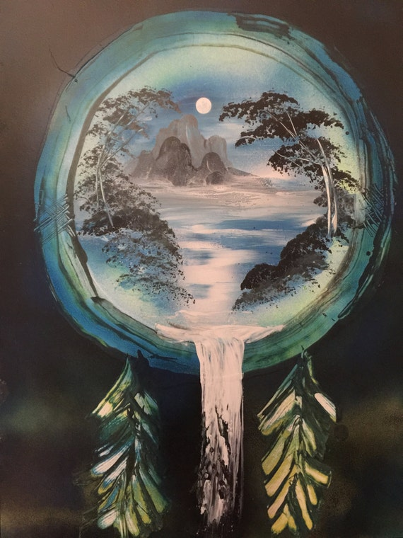 Spray paint art dream catcher landscape waterfall greens for Dream catcher spray painting