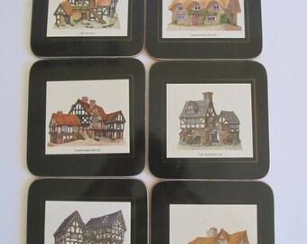 Coasters, David Walker Cottages, Drink Coasters, Made in United Kingdom, Coasters, Set of 6 Coasters, Cottage, Cottage Decor