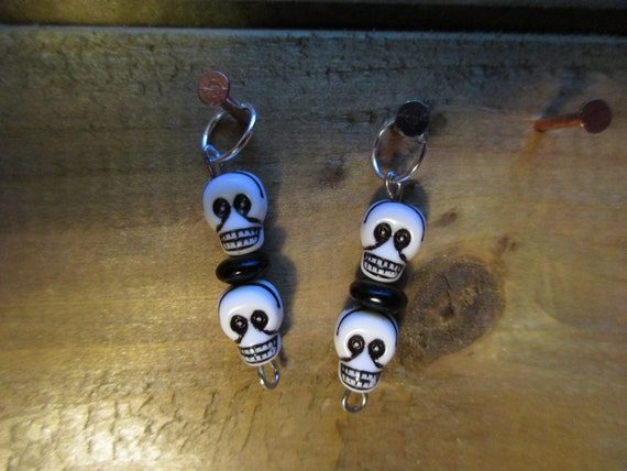 Set of Two Skull Stitch Markers for Knitting. Halloween!