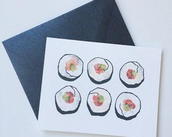 Sushi Card / Sushi Greeting Card/ Foodie Card/ Nori