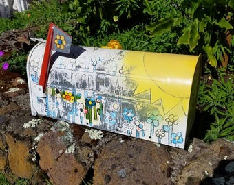 Fabulous Metal U S Mail Mailbox with Classic Red Flag, Rural Mailbox, Farmhouse, Cottage Chic, Country Decor, Rustic Decor, Hand Painted