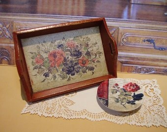 Flowers Vintage Miniature Wooden Tray for Dollhouse 1:12 scale