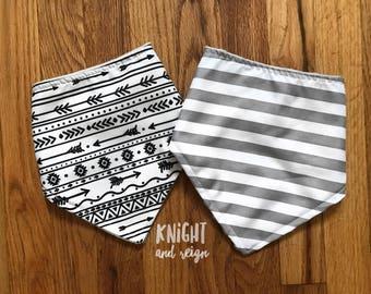 Monochrome Grey Bibs Soft Interior Infant Size
