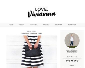Premade Blogger Template - Love Vivianna - Responsive Blogger - Blog theme - Fashion blogger - Feminine blogger - Beauty blog