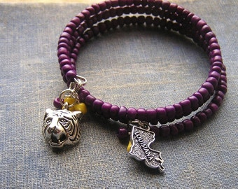 LSU Louisiana Bracelet Wrap Around purple and yellow glass E Beads Memory wire 3 loops