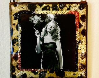 Rita Hayworth, Old Hollywood- Art, Leaded Glass, Hanging Ornament