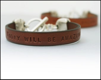 Custom Leather Bracelet with Toggle Clasp, Personalized Bracelet, Inspirational Gift for Her