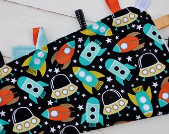 Tag / Lovely Blanket - Ribbon Blanket - Space Station Rocket with Aqua Minky