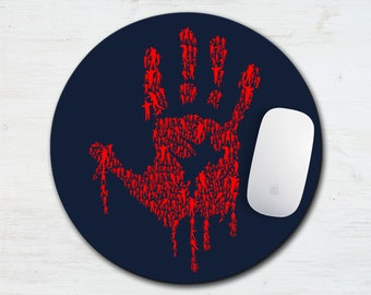 Zombie Hand Mouse Pad, Walking Dead, Monsters, Zombie Gift, Computer Mouse Pad, Zombies, Desk Accessory, Gifts Under 20, Halloween, Red Hand