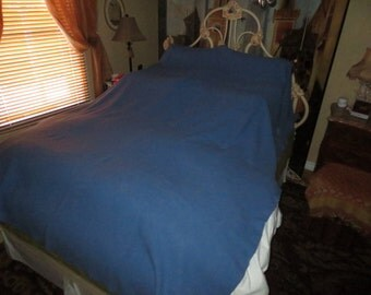 Large Queen King Size Vintage 60's Genuine Wool Blanket , 76 by 84 inches , Rare Blue Color