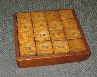 Antique Sliding Number Wood Block Game , Wood Puzzle , Child's Learning Game , Toy Collectible