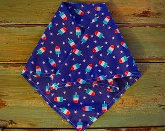 SALE - HALF OFF /Patriotic Pupsicle // Dog Bandana // Fourth of July // Red White and Blue // Dog Accessories / Pet Bandana