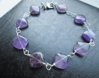 Purple Amethyst bracelet Link Genuine natural gemstone February birthstone 925 sterling silver or plated gift for her birthday Valentine's