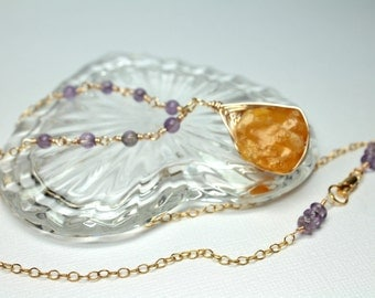 Rough Fire Opal Pendant Necklace, Wire Wrapped Amethyst Stones, Mexican Fire Opal Gemstone, Raw Crystal Stone, 14K Gold Filled