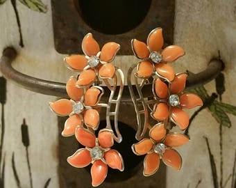 Vintage coral flower clip-on earrings