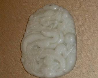 Carved jade pendant, dragon 53mm. Dragon pendant.