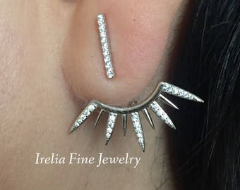 Sterling Silver & CZ Front And Back Spike Post Earrings Art Deco Look