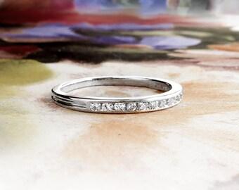 Vintage Tiffany & Co. Diamond Wedding Band Circa 1950's Channel Set Platinum Stacking Ring