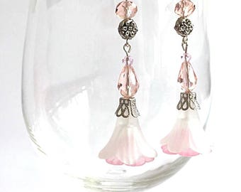 White and pink lucite flower earrings, bridal earrings