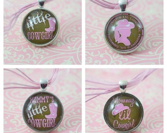 Mommy's Lil Cowgirl Pink & Brown Glass Tile Pendant Necklace Little Girl Jewelry