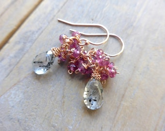 Black Rutile Quartz Drop & Berry Pink Rhodolite Fringe Earrings in Rose Gold