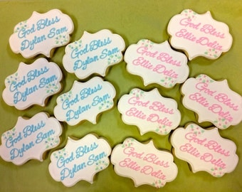 Baptism Cookie Favors, Christening Cookies, First Communion Cookies for Boy or Girl, Religious Celebration Cookies, Personalized Cookies