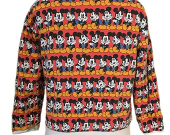 Vintage Mickey Mouse Reversible All Over Print Sweatshirt. Vintage Mickey Mouse. Vintage Disney. 80s Disney. 90s Disney. 90s Mickey Mouse.