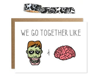 Zombie Card, We Together Like Zombies & Brains, Zombie Valentine, Anniversary Card, Valentines Card, Card For Husband, Funny Anniversary