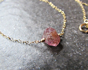 Raw Pink Sapphire Necklace in Sterling Silver, 14K Yellow Gold Filled or Rose Gold Filled- September Birthstone Jewelry - Gift for Wife