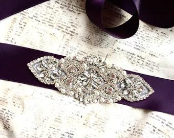 Purple sash belt, dark purple sash, pearl and rhinestone sash, crystal sash, handmade sash, DIY purple sash, DIY wedding