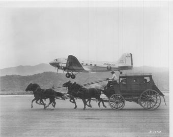 Douglas DC-3 of American Airlines and a stagecoach, 1940, Race, Great Photo