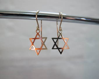 Solid Gold Star of David Earrings