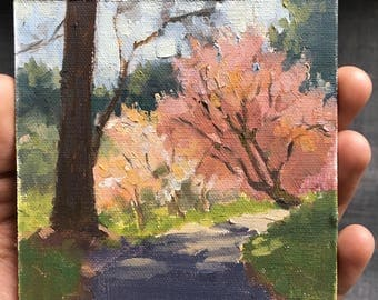 Spring Path - Original contemporary landscape painting - Oil Painting