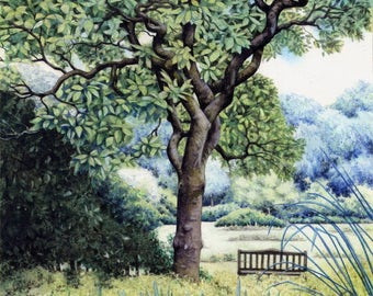 "Magnolia Tree painting | Roath Park watercolour | Original painting | 8"" x 10"" 