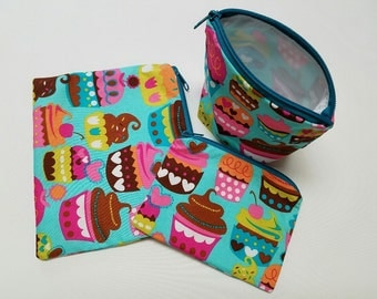 Reusable Sandwich Bag Set,Cupcake Snack Bag,Washable Baggies,Snack Bags,Small Bags,Make-Up Bags,Small Toy Bags,Nylon Lining, Zipper Closure.